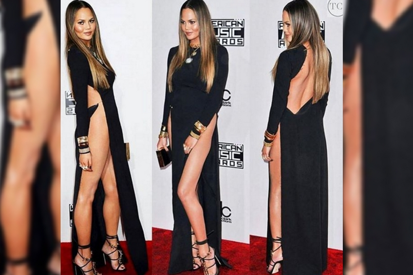 Chrissy teigen crotch slit dress